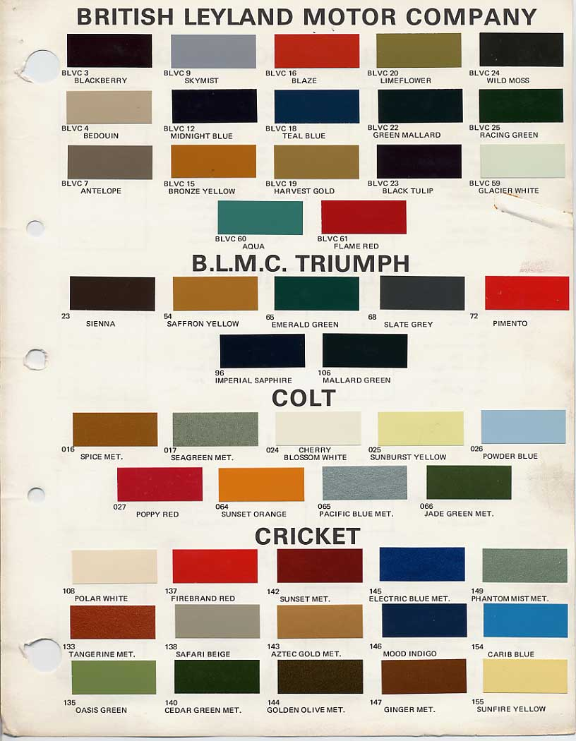 Bmcbl paint codes and colors how to library the mg experience bmc british leyland paint code chips 1970 1972 geenschuldenfo Image collections