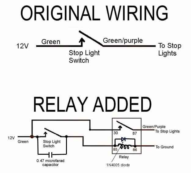 installing a brake light relay how to library the mg experience positive ground relay mgb wiring schematic for brake light
