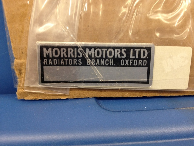 Early MGB oil cooler top plate