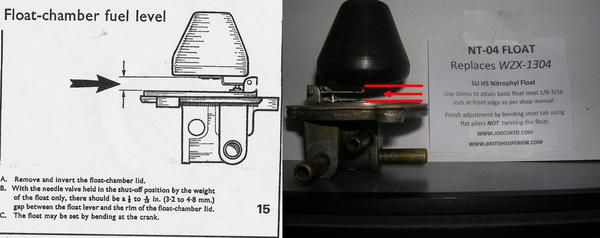 This mg midget carburetor float setting can