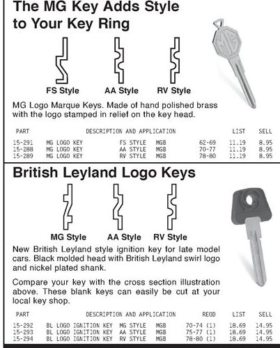 WHAT IS THE KEY? : MGB & GT Forum : MG Experience Forums : The MG
