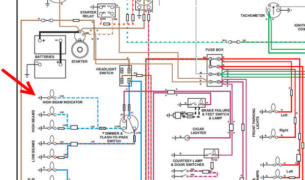 MGB_wiring_diagram_p13_detail i'm triumphant! hi beam indicator light where does the ground 1972 mgb wiring diagram at edmiracle.co