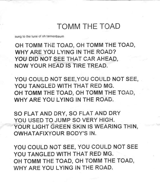 Lied Oh Tannenbaum Text.Tomm The Toad Limerick Song Mga Forum Mg Experience Forums