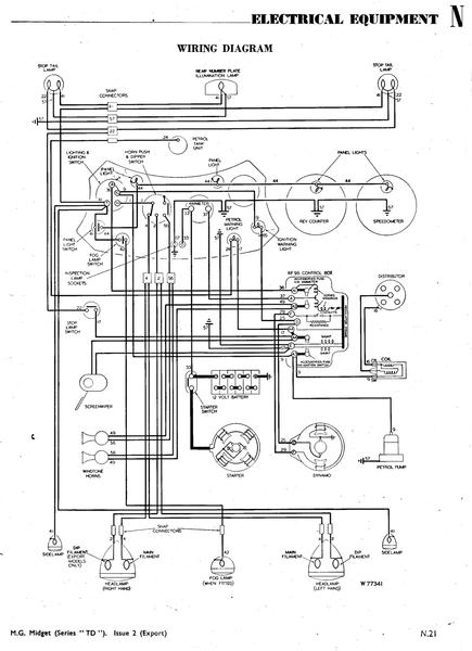 Wiring_diagram_TD_1 wiring diagram for 1950 td ( just acquired) t series & prewar 1953 mg td wiring diagram at suagrazia.org