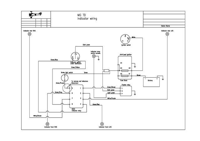 fitting separate rear indicators to 1954 mg tf : t-series & prewar, Wiring diagram